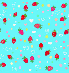 strawberries and hearts seamless pattern vector image