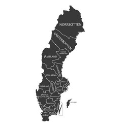 Sweden map labelled black vector