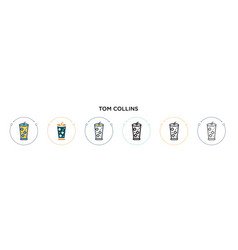 Tom collins icon in filled thin line outline and vector