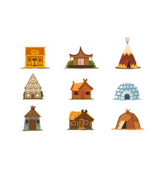 Traditional buildings different countries set vector
