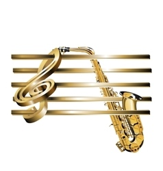treble clef stave 3D gold and saxophone vector image