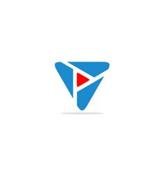 Triangle play logo vector