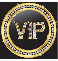 Vip with diamonds vector image