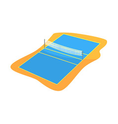 Volleyball or badminton court with net in flat vector