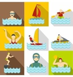 Water sport icons set flat style vector