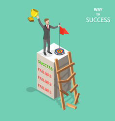 way to success flat isometric concept vector image