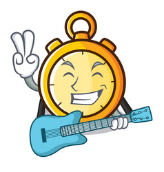With guitar chronometer character cartoon style vector