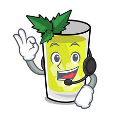 With headphone mint julep mascot cartoon vector