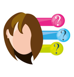 Woman thinking in differents questions vector