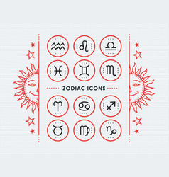 zodiac icon collection sacred symbols set vector image