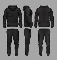 black man sportswear hoodie and trousers vector image