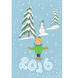 Christmas greeting card with child and snowman vector image