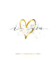 I love you text with gold heart and splashes vector