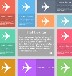 Plane icon sign Set of multicolored buttons with vector image