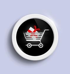 Button with a shopping cart vector image vector image
