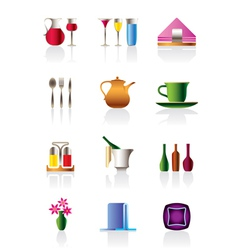 Cafe bar and restaurant icon set vector image