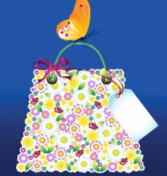 flower bag with butterfly vector image vector image