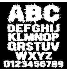 White studded scary alphabet vector image