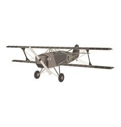black flat icon of vintage biplane airplane vector image vector image