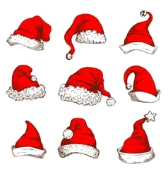 Christmas red hat or cap of Santa and elf icon set vector image vector image