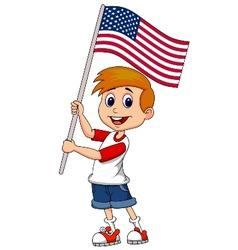 Cute boy cartoon waving with American flag vector image