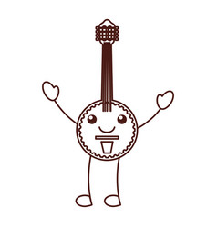 kawaii banjo jazz instrument musical festival vector image