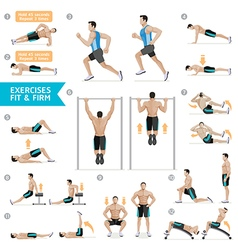 Man workout fitness aerobic and exercises vector