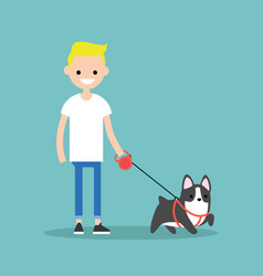 young smiling blond boy walking the dog flat vector image