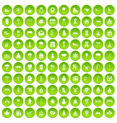 100 winter holidays icons set green vector image