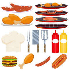 colorful cartoon bbq cooking 15 element set vector image