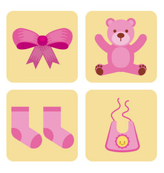 cute design elements for baby shower vector image vector image