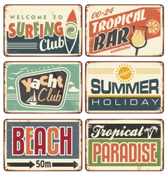 Summer holiday vintage sign boards collection vector image vector image