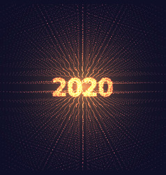 2020 new year digital perspective grid with vector image