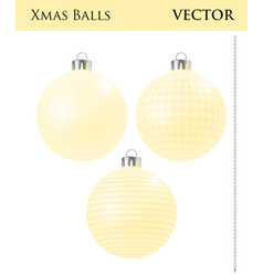 a set of yellow christmas balls vector image
