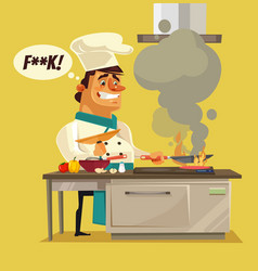 angry sad bad chef character burn food vector image