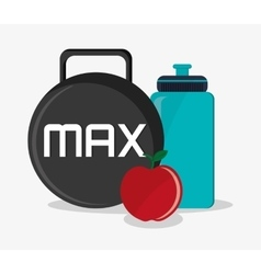 Apple bottle weight and fitness design vector