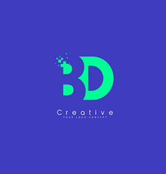 Bd letter logo design with negative space concept vector