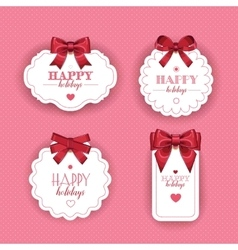 Beautiful cards with gift bows ribbon vector image
