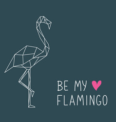 beautiful flamingo in geometric style with vector image