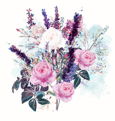 beautiful rose and lavender flowers in watercolor vector image