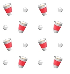 Beer pong seamless pattern vector image