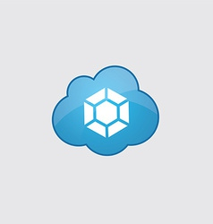Blue cloud diamond icon vector