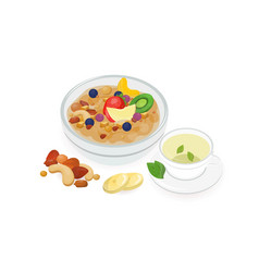 Bowl of tasty oat porridge decorated with fresh vector