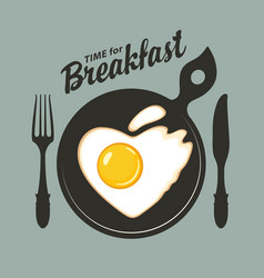 Breakfast banner with a heart shaped fried egg vector