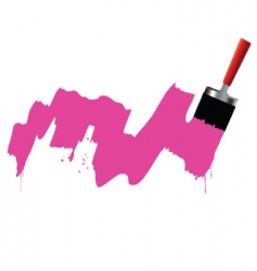 brush and pink paint vector image
