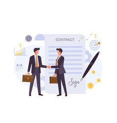 business agreement contract colorful flat vector image