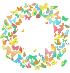 Butterfly frame wreath design element bright vector image