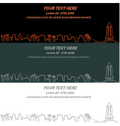 cape canaveral event banner hand drawn skyline vector image