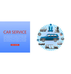 Car spares and auto parts web banner vector