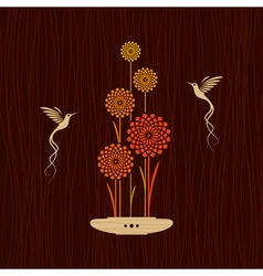 Card with birds and flowers vector
